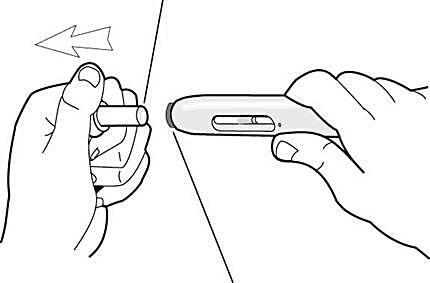 Beskrivning av hur man drar av nålskydded genom att dra det rakt ut