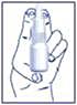 Bilden visar hur du ska hålla när du sprayar