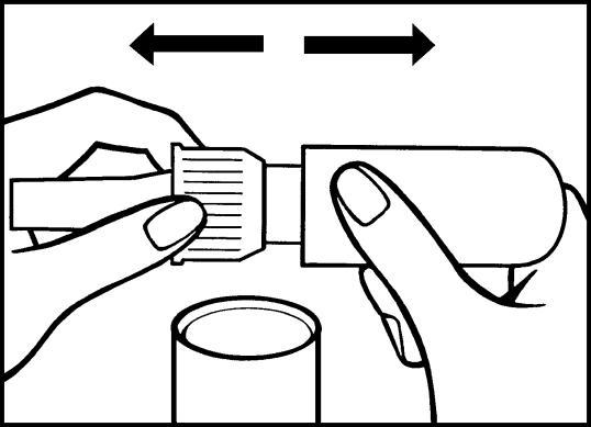 Bilden visar hur du avlägsnar skyddshättan från doseringspumpen