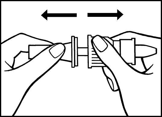 Bilden visar hur du sedan avlägsnar den halvgenomskinliga skyddshättan från pumpröret