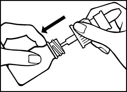 Bilden visar hur du för ned pumpröret i flaskan och sedan skruvar på doseringspumpen